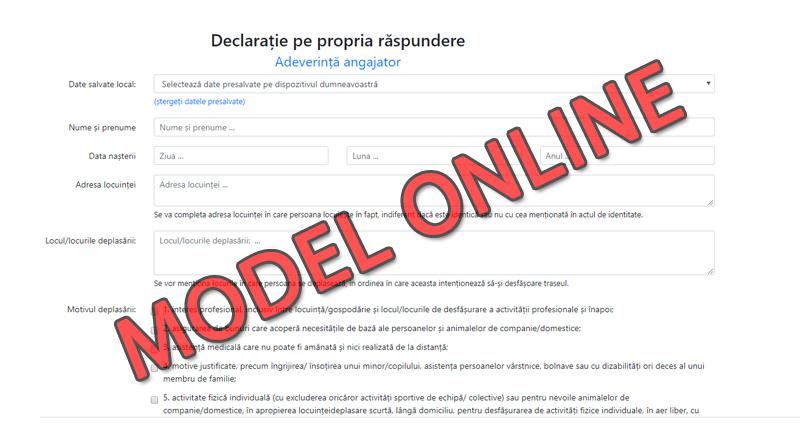 Model Declaratie Online