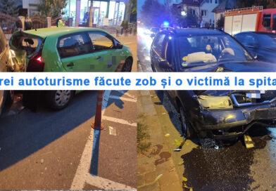 Trei mașini făcute zob și o victimă transportată la UPU Piatra Neamț